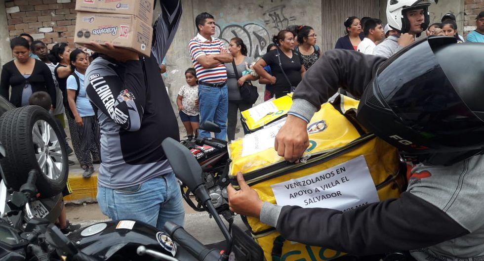 Ayuda en delivery: Venezolanos acuden a Villa El Salvador para donar alimentos a damnificados
