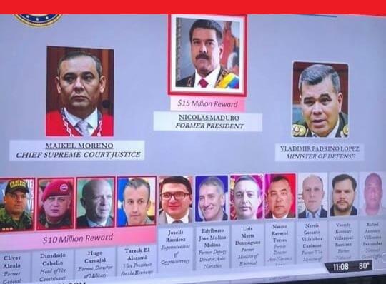 EE UU acusa a Maduro de narcotráfico y ofrece 15 millones por información que conduzca a su detención