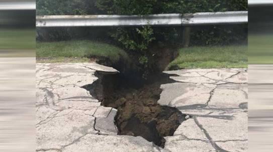 Las inundaciones repentinas pueden haber causado un hundimiento en el puente de Grove City