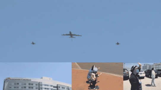 La Guardia Nacional Aérea de Ohio vuela sobre Columbus para honrar a los trabajadores de la salud