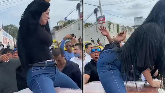 Mujer despide a su marido fallecido bailando twerking encima de su ataúd (Video)